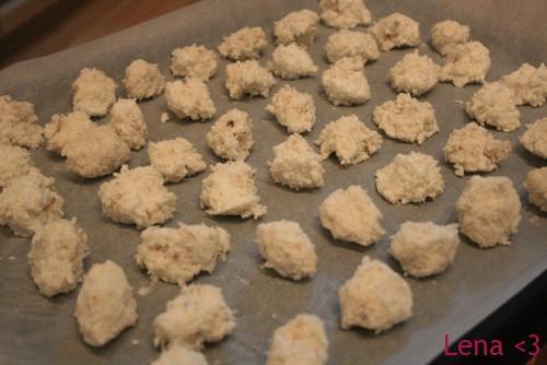 Kokosmakroner klare for ovnen